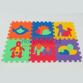 Pěnový koberec MAXI 6 zvířata 2 mix 6 barev 8mm
