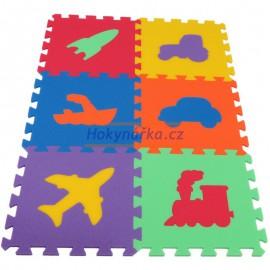 Pěnový koberec MAXI 6 dopravní prostředky mix 6 barev 16mm pevný
