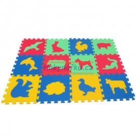 Pěnový koberec MAXI 12 zvířata2 mix 4 barev 16mm pevný