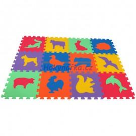 Pěnový koberec MAXI 12 zvířata2 mix 6 barev 16mm pevný