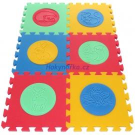 Pěnový koberec MAXI 6 zvířata mix 4 barev 16mm pevný
