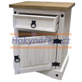Komoda noční stolek Corona bílý vosk masiv borovice