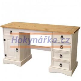 Psací stůl Corona bílý vosk masiv borovice