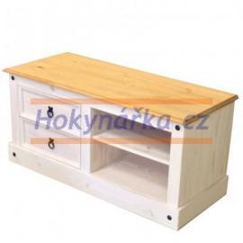 TV stolek Corona bílý vosk masiv borovice