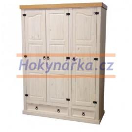 Šatní skříň Corona 3 dveře bílý vosk masiv borovice
