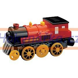 Maxim dřevěná mašinka elektrická lokomotiva červená