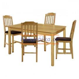 Jídelní sestava stůl 118 a 4 židle lak masiv borovice