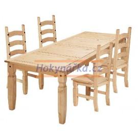 Jídelní sestava Corona stůl 178 a 4 židle vosk masiv borovice