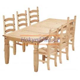 Jídelní sestava Corona stůl 178 a 6x židle vosk masiv borovice