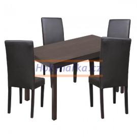 Jídelní sestava stůl 118 a 4 hnědé židle hnědý lak masiv borovice
