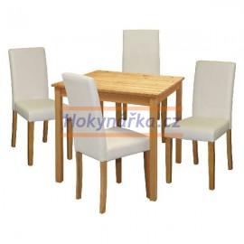 Jídelní sestava stůl 75 a 4 židle lak masiv borovice