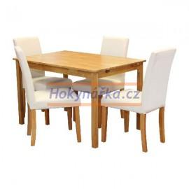 Jídelní sestava stůl 118 a 4 bílé židle lak masiv borovice