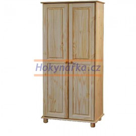 Šatní skříň 2 dveře dřevěná lak masiv borovice