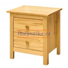 Komoda Torino noční stolek 2 zásuvky lak masiv borovice