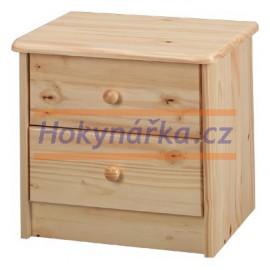 Komoda mini 2 zásuvky dřevěná lakovaná masiv borovice