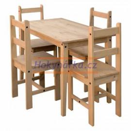 Jídelní sestava Corona2 malý stůl a 4 židle vosk masiv borovice