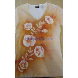 Tričko dámské L květy 6 ručně barvené