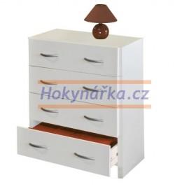 Komoda 4 zásuvky lamino bílá