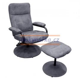 Relaxační křeslo s podnožkou šedé kov