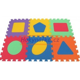Pěnový koberec MAXI 6 geometrické mix 6 barev 16mm pevný