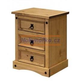 Noční stolek Corona 3 zásuvky vosk masiv borovice