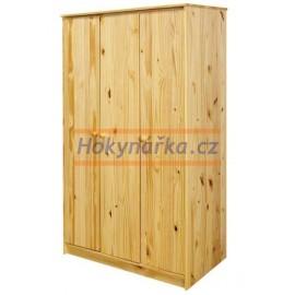 Šatní skříň 3 dveře 175 lak masiv borovice