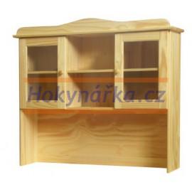 Nástavec příborníku dřevěný lakovaný masiv borovice
