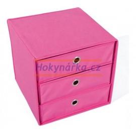 WILLY textilní skládací box růžový