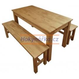 Jídelní set stůl Corona2 + 2 lavice vosk borovice
