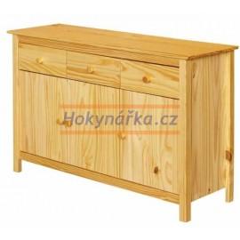 Příborník Torino dřevěný lak masiv borovice 3dv